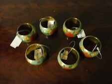 PIER 1 IMPORT SET OF 6 BRASS FLORAL PAINTED NAPKIN HOLDER NEW WITH TAG