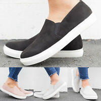 Womens Ladies Synthetic Fur Loafers Pumps Casual Slip On Flat Sneakers Shoes USA