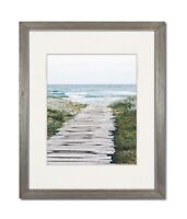 8x10 Light Grey Coastal Wood Picture Frame with Single White Mat for 4x6
