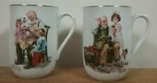 Norman Rockw 00004000 ell Museum Collection 1982 Coffee Mug Cups Gold Trim Set of 2