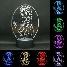 Personalised Elsa LED Colour Changing Bedside Lamp.