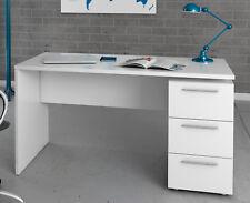 Escritorio o mesa de estudio juvenil color blanco con 3 cajones tiradores metal
