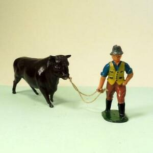 Vintage Lead Farm BULL & FARMER with Rope 1950 by Timpo - Britains Era VGC