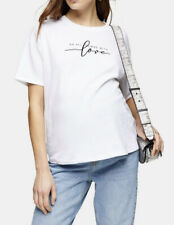 Topshop Things With Love White Slogan Cotton Maternity T Shirt 16 Bnwt