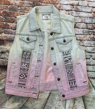 Forever 21 Women's Premium Denim Vest Jacket With Southwest Accents Size Large