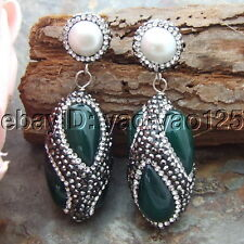 H070113 White  Pearl Green Agate Black  Marcasite Earrings