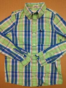 Abercrombie kids boys collared button up pocket long sleeve size XL green blue l