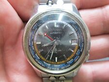 VINTAGE SEIKO AUTOMATIC WORLD TIME Running MENS DATE STAINLESS WRIST Watch