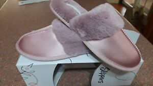 Ladies Boxed Satin Slippers Scuffs Spring Summer fur lined,Rose,Sz Small 5-7
