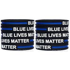 10 Blue Lives Matter Bands Thin Blue Line Law Enforcement Wristband Bracelets