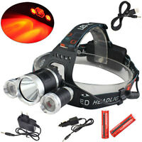 Rechargeable 6000lm White&Red XM-L T6+2R2 LED USB Headlamp Torch 18650 Battery