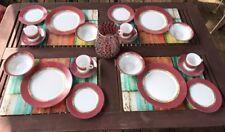 Retired Retro Arcopal POMPEI Geometric 20 Dishes Lot 4 Place Settings Mauve Pnk
