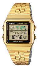Casio A500WGA-1 Men's Retro Gold Tone World Time Alarm Chronograph Digital Watch