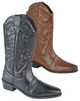 Mens Leather Pull On Western Cowboy Mid Calf Biker Casual Boots Shoes Size