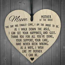 Mother Of The Bride To Be Wooden Hanging Heart Wedding Plaque Mum Love Gift Sign