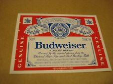 Budweiser Beer Label #2 - Labatt Brewing - Canada