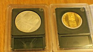 1973 100 Gold Coin Lirot 25th Israel Anniversary Independence day & Silver Coin