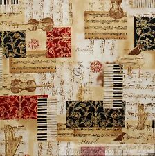 BonEful Fabric FQ Cotton Quilt Cream Red VTG B&W Gold Metallic Music Violin Note