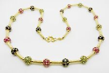"""18K YELLOW GOLD VINTAGE RUBY BLUE AND GREEN SAPPHIRE NECKLACE 21"""" LONG - LB2276"""