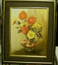 FLEURS   & VASE CUIVRE      F.MICHIELS    peinture  H s/panneau  Encdr 40x50cm