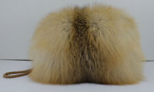 Real Golden Island Fox Fur Handmuff New Made in USA  Hand muff down satin lining
