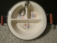Vintage Baby Divided Warming Dish Excello Chromium w/Curved Silver Baby Spoon