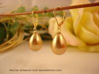 Ohrringe Champagner aus MuschelkernPerlen Tropfen, Brisur 925er Silber vergoldet