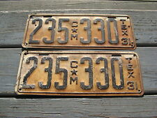1931 31 TEXAS TX PAIR LICENSE PLATE NICE SET YOM - GOOD COMMERCIAL TRUCK TRK