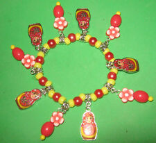 """RUSSIAN MATRYOSHKA DOLLS"" BEADED CHARM BRACELET- RED & YELLOW"