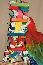 """X-Large Parrot Toy (Blocks & Knots) Jk531 Macaw/Cockatoo's 6"""" x 22"""" Chewing"""