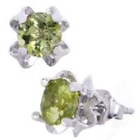 .925 Sterling Silver Stud Earrings w/ Round Peridot