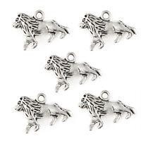 10pcs Lion Double Side Beads Tibetan Silver Charms Pendant DIY Jewelry 20*12mm