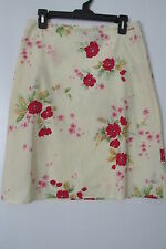 DKNY Jeans Light Yellow Floral Print 100% Cotton Knee-Length Skirt SIZE:5