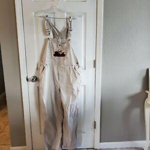 Disney Winnie The Pooh Overalls Bib Denim Pants Embroidered Cotton Tan Large