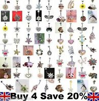 Belly Bars Navel Piercing Jewellery Body Rings Crystal Dangle Reverse Belly Bar