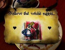 FOLLOW THE WHITE RABBIT -Vintage Alice in Wonderland Sign- Decoration