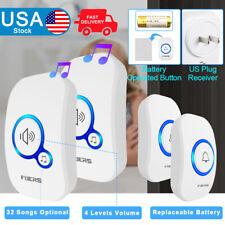 Fuers 32 Chime Wireless Door Bell Cordless Plug in Waterproof Welcome Doorbell