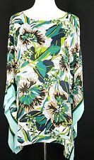 Joan Rivers Women's Blouse Size 1X Floral Kimono White Blue Green Brown Top
