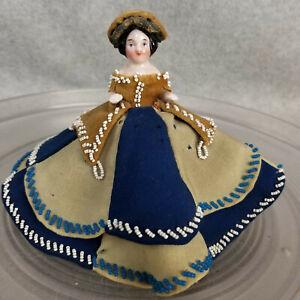 "3"" antique German pink tint china porcelain frozen Charlotte Lady Doll Figure"
