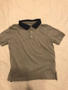 Old Navy Boys Gray Polo Shirt With Navy Collar Size 6-7