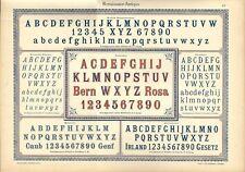 Stampa antica ALFABETI NUMERI Rinascim. ANTIQUA 1898 Old Print Alphabet Writing