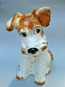 Vintage SylvaC English Pottery Terrier Figurine White & Brown No 1580 Large 30cm