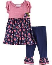 Bonnie Baby Navy Floral Dress & Leggings 2-Piece Outfit Infant Girl 12 Months