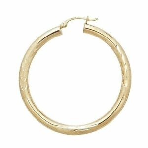"""3mm X 45mm 1 3/4"""" Large Diamond Cut Round Hoop Earrings REAL 14K Yellow Gold"""