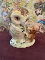 "VINTAGE 1963 BEATRIX POTTER'S ""OLD MR. BROWN"" BESWICK England Owl & Squirrel"