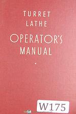 Warner Amp Swasey Turret Lathe Operator Manual Year 1940