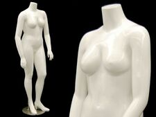 Adult Female Plus Size Glossy White Fiberglass Headless Mannequin With Base