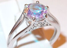 2.25ct Mercury Mystic Topaz solitaire, platinum overlay Sterling Silver, Size O.
