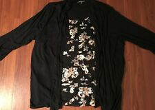 Croft&Barrow Black and Floral 2fer Womens 2X