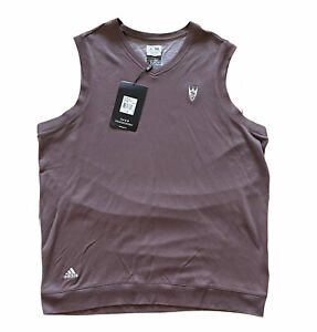 NWT Adidas Golf Mens Large Relaxed Brown Sleeveless Vest Sunset Country Club